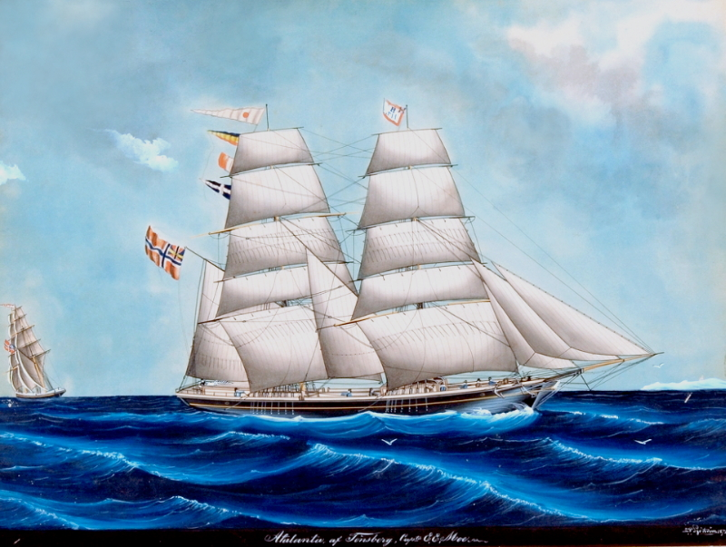 Picture of the Brig Atalanta, Norwegian emigrant ship
