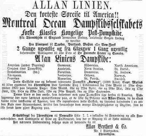 Allan Line advert