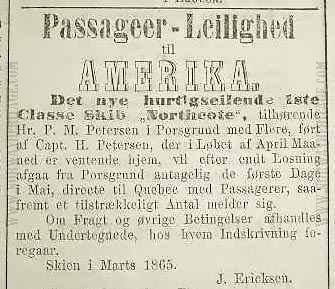 newspaper announcement 1865