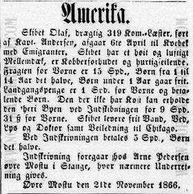 Newspaper announcement for the conveyance of emigrants on the Norwegian emigrant ship Olaf in 1865