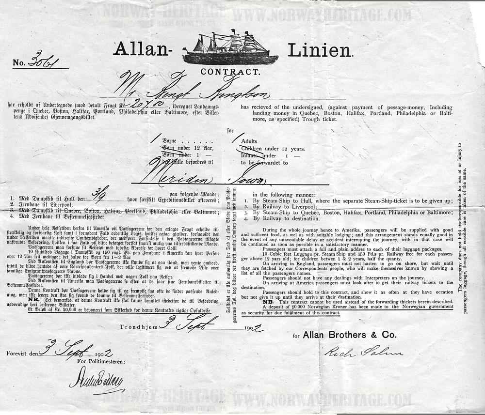 Emigration contract, Allan Line