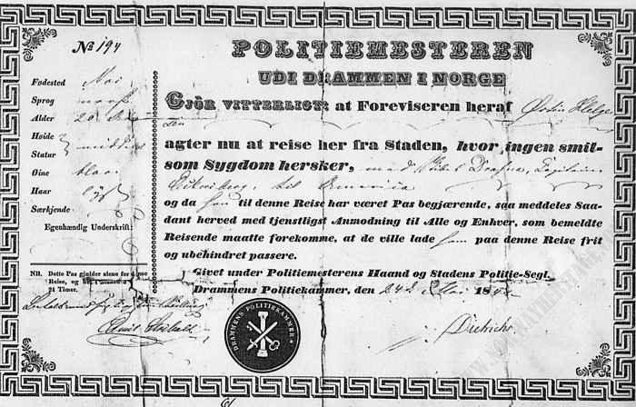 Passport 1848