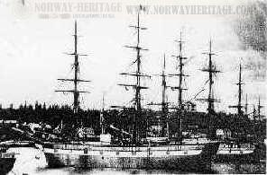 The Norwegian emigrant ship CLAUS HEFTYE (ex USA GEORGE F. PATTON)