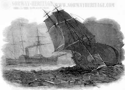 The collision between the S/S Europa and the brig Charles Bartlett in 1849