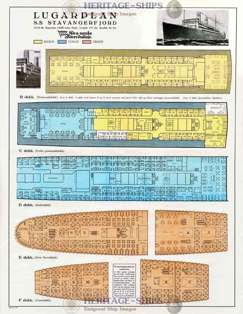 Stavangerfjord nal the norwegian america line for Deck plans and material list