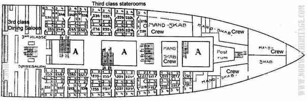 Deck-plan: Upper main deck, forward, showing 3rd class (steerage) accommodation on the S/S Bergensfjord (1)