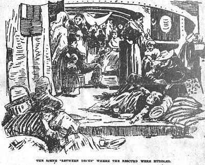 The rescued steerage passengers on the between deck of the Missoury
