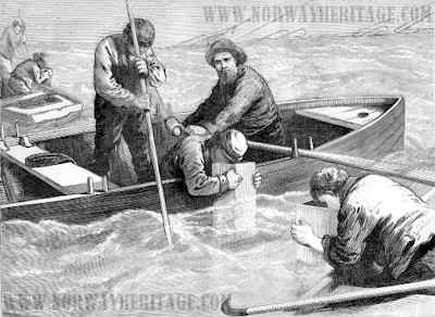 Fishermen looking through wooden funnels for bodies on the bottom around the wreck of the Atlantic