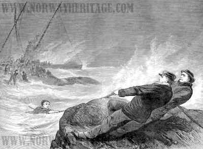Atlantic disaster, Third officer Brady and fisherman Clancy holding the rope by means of which the rescued passengers got from the ship to the shore.