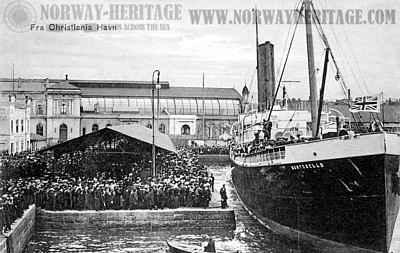 Wilson Line steamship Montebello departing Christiania