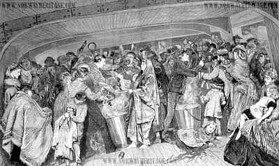 Feeding time between decks (steerage) in an emigrant ship 1873