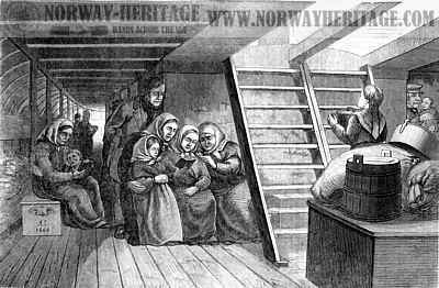 Between deck, steerage of the Superior, 1866