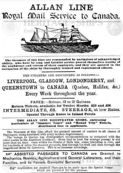 Allan Line announcemant 1883